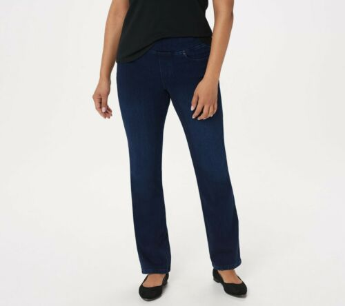 Belle by Kim Gravel Regular Flexibelle Boot-Cut Jeans Dark Indigo Size 14 QVC