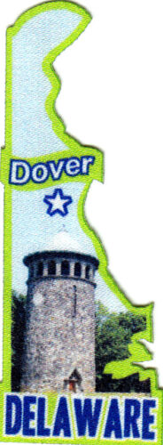 "/""DOVER DELAWARE/""  State Shape Capitol City Iron On Printed Patch"
