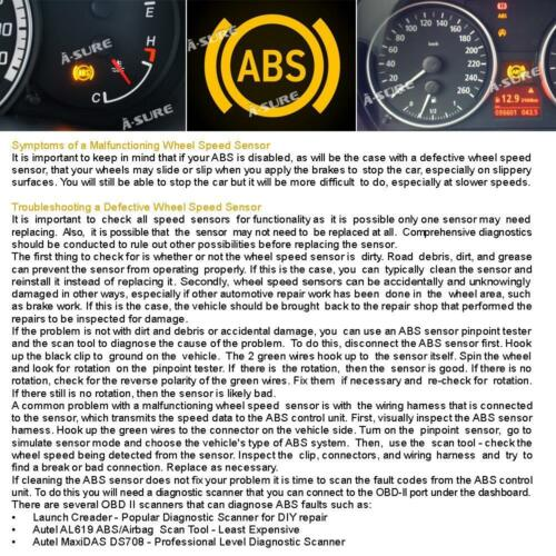 FOR CITROEN C6 PEUGEOT 407 /& SW ABS WHEEL SPEED SENSOR REAR LEFT OR RIGHT