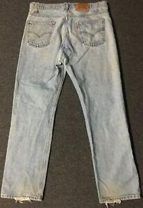 Vtg-Levi-s-505-Orange-Tab-Jeans-38-32-Faded-Distressed-Grunge-USA-80s-90s-Biker
