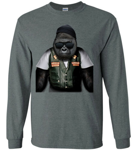 Biker Gorilla T-shirt Long Sleeve Tee Funny Animal Decal Design Gifts for Men