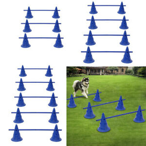 Dog-Hurdle-Training-Cone-And-Agility-Pole-Set-Adjustable-Puppy-AGILITY-TRAINING