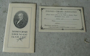 Vintage-1927-Booklet-and-Attendance-Card-Stephen-Girard-Lodge-450-F-amp-AM