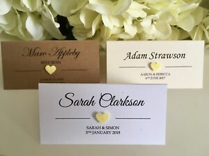 Wedding Place Cards.Details About Yellow Lemon Glitter Heart Personalised Wedding Place Cards White Ivory Kraft