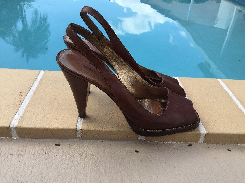 PRADA braun LEATHER SLINGBACK WOOD WOOD WOOD HEEL PLATFORMS SANDALS Sz 40 MADE IN ITALY ed8a3c