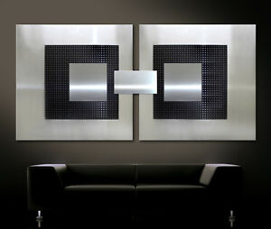 original abstrakt metall bilder wandbild modern art deco schwarz grau silber 3d ebay. Black Bedroom Furniture Sets. Home Design Ideas
