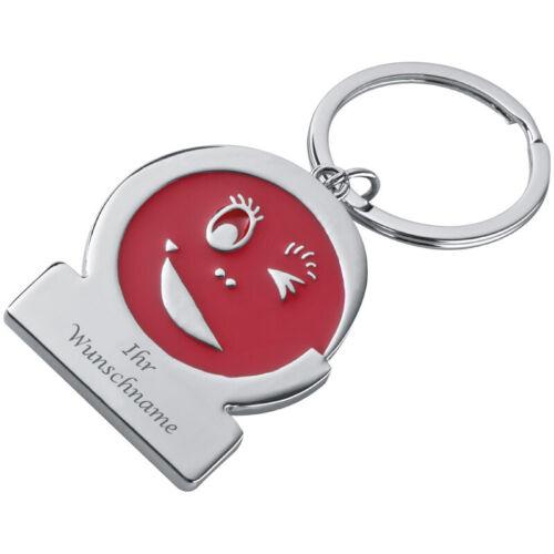 """Schlüsselanhänger /""""Gesicht/"""" mit Gravur Farbe rot"""