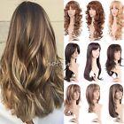 Womens Ladies Long Full Wigs Curly Wavy Kanekalon Mix Highlight Hair Cosplay #D1