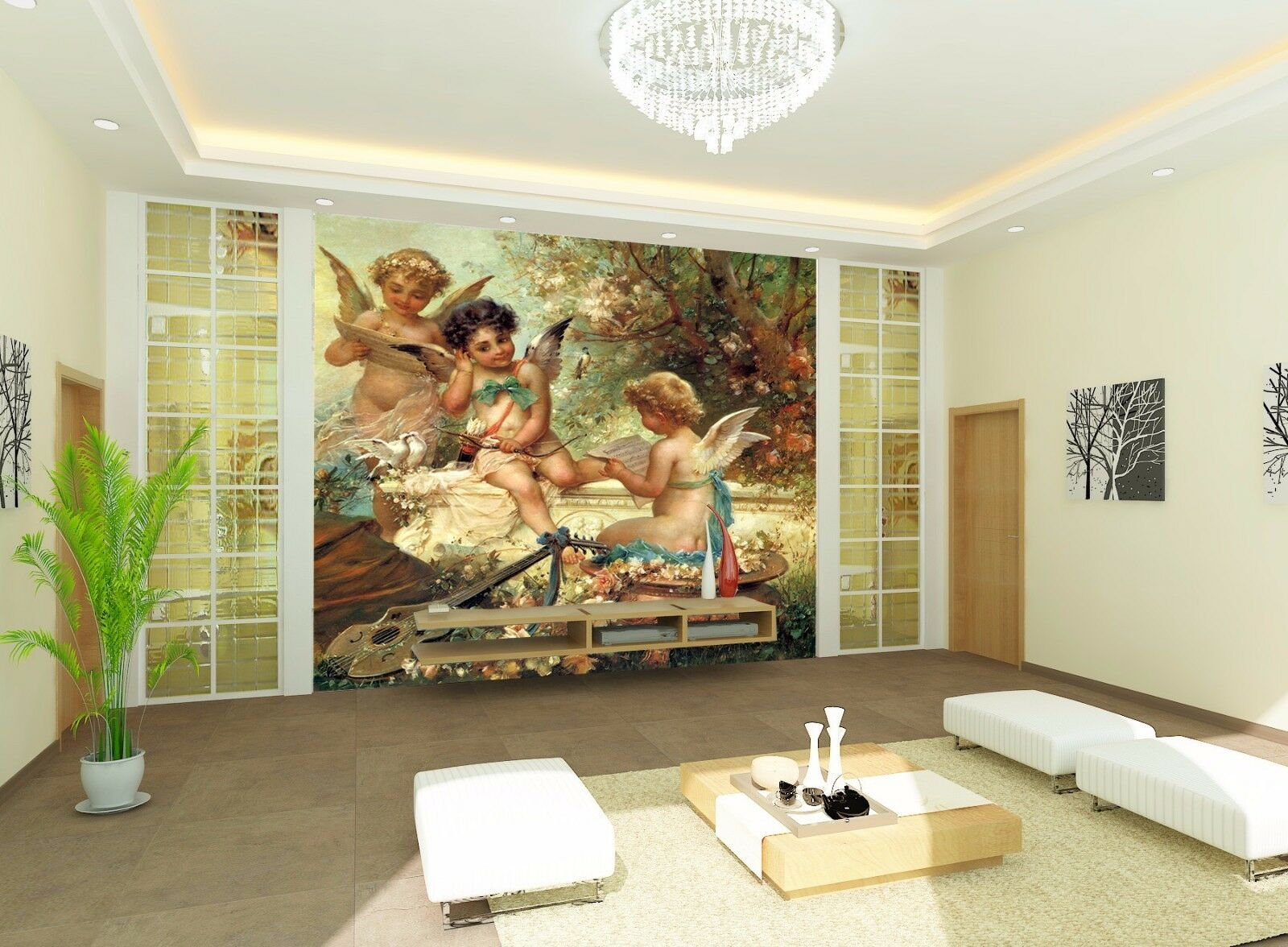 3D Three Cute Angels 7 Wall Paper Murals Wall Print Wall Wallpaper Mural AU Kyra