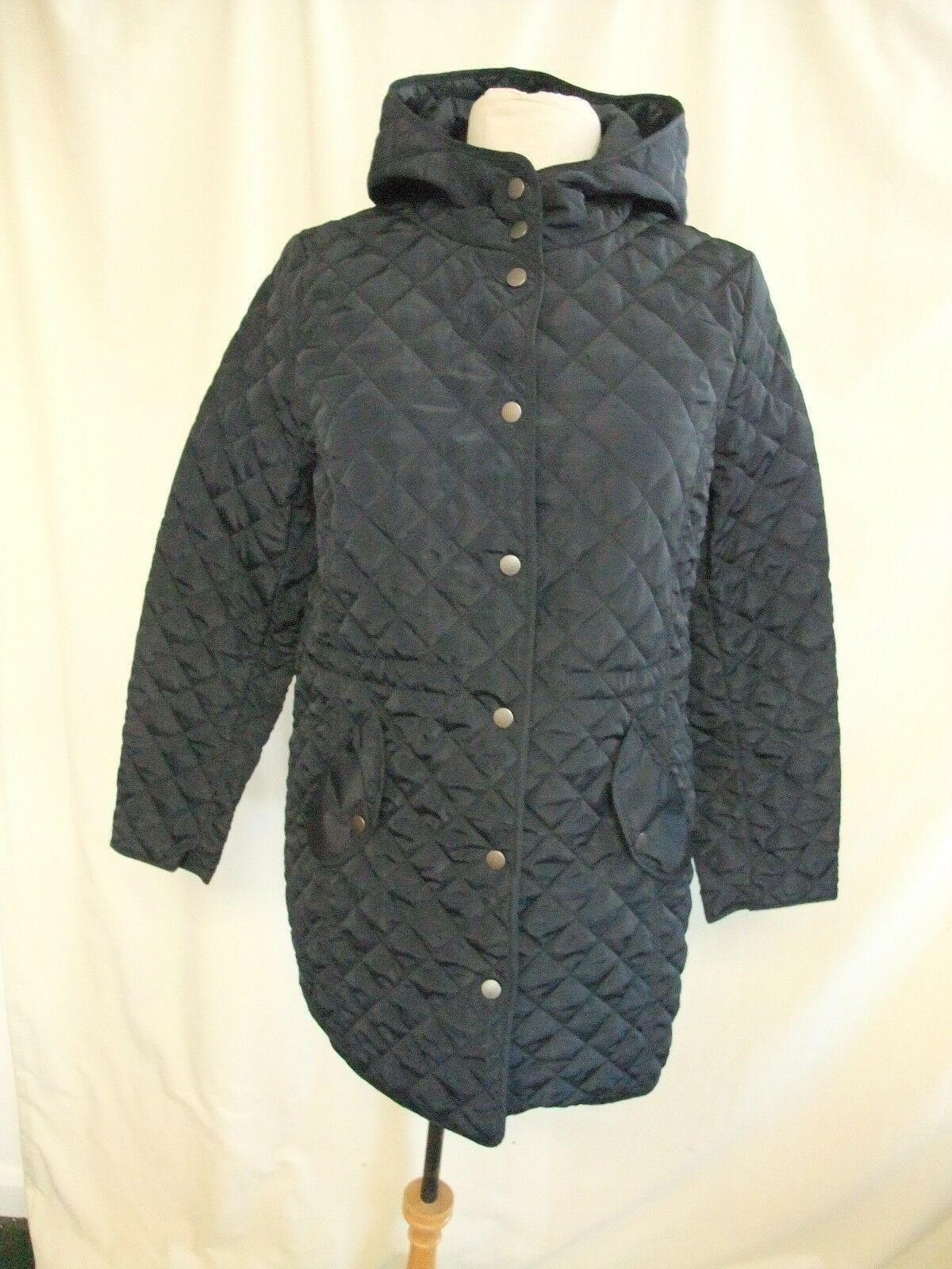 Ladies Coat Centigrade size S, navy quilted, light, hood, Spring Autumn 1425