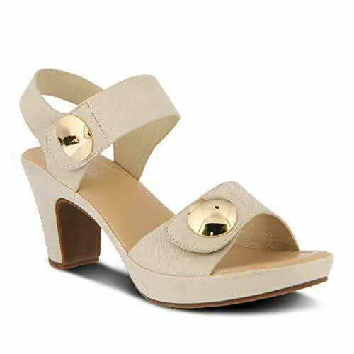 Details about  /Patrizia Women DADE Two-Piece Sandal Featuring Gold Fashion Buttons Sandal