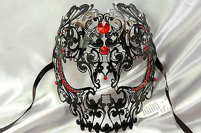 Cut Men Halloween Unisex RED Masquerade Metal Rhinestone Skull Laser Sugar Mask tTROxrtwqn