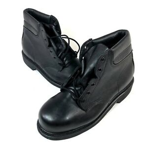 Bates-Mens-7-5-M-Leather-Safety-Boots-High-Top-Black-Round-Toe-Lace-Up-007663