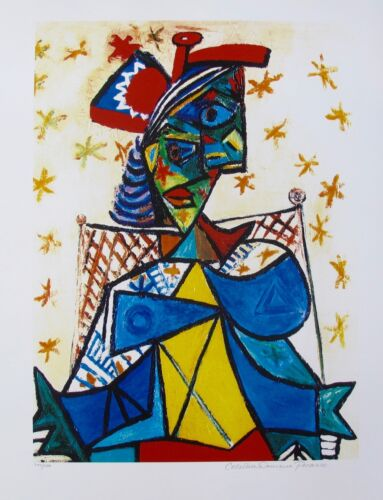 Pablo Picasso SEATED WOMAN RED /& BLUE HAT Estate Signed Limited Edition Giclee