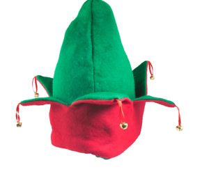 Elf Hat  Red Green Felt Holiday Christmas Santa Party Cap with Bells  NEW