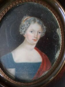 Clemence-Philippe-XVIII-XIXe-PEINTURE-Miniature-femme-Empire-cadre-painting