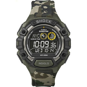 Timex Men's Expedition   Green Camoflauge Band Global Shock Digital Watch T49971