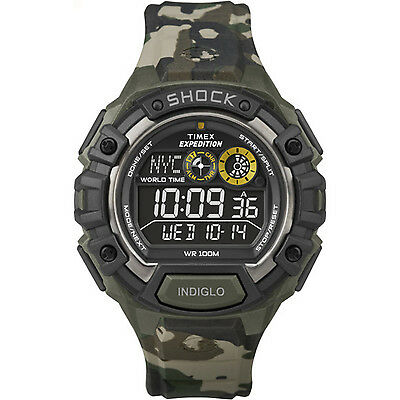 Timex Men's Expedition | Green Camoflauge Band Global Shock Digital Watch T49971