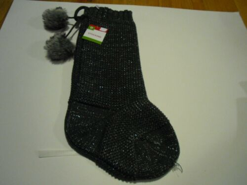 """New Knit Christmas Stockings Holiday Decorations Blue Gray White and Black 20/"""" K"""
