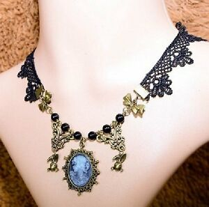 Gothic Collier Kette Choker Schwarz aus Spitze Kragen Halsband Barock Victorian