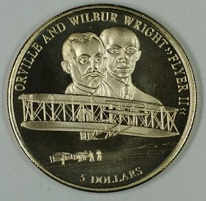 Orville And Wilbur Wright 5 Dollar Coin