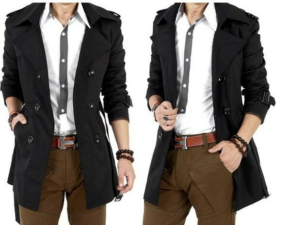 Men's Slim Fit Double Breasted Trench Casual Coat Long Jacket Overcoat Outwear