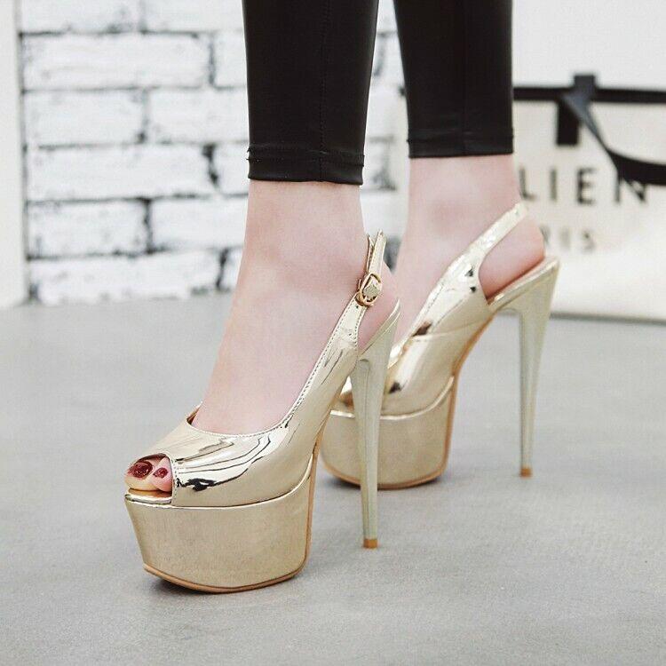 6  Super High Heels Women's Platform Slingbacks Peep Toe Nightclub Sexy shoes
