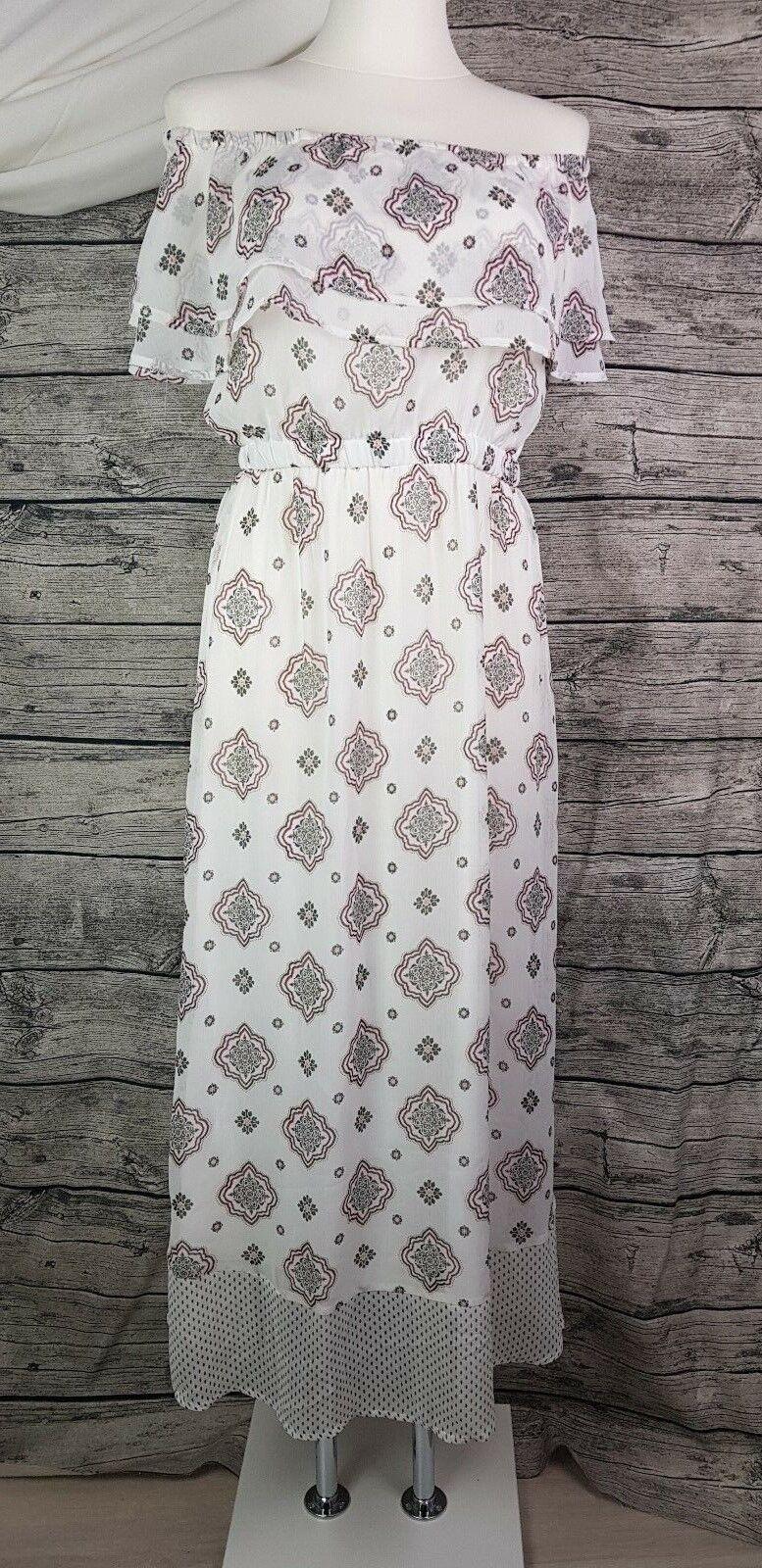 Only Maxikleid langes Kleid Off Shoulder Gr.36 bis 42 Weiß gemustert Neu
