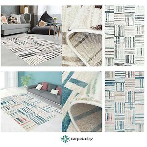 Tapis-Moderne-Design-Salon-Inspiration-Just-Carreaux-Pastelle-Bleu-Beige-Neuf
