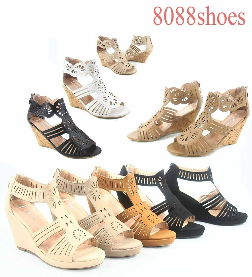 Women's OpenToe Wedge Heel Shoes Plaform Ankle Strap Sandals Shoes Heel Size 6 - 10 NEW 8d28ff