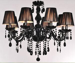 8 lights black murano glass crystal chandelier light led pendant image is loading 8 lights black murano glass crystal chandelier light aloadofball Choice Image