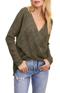 Astr The Label Women's Front Wrap Sweater Pullover Olive Xl Nwot N0605
