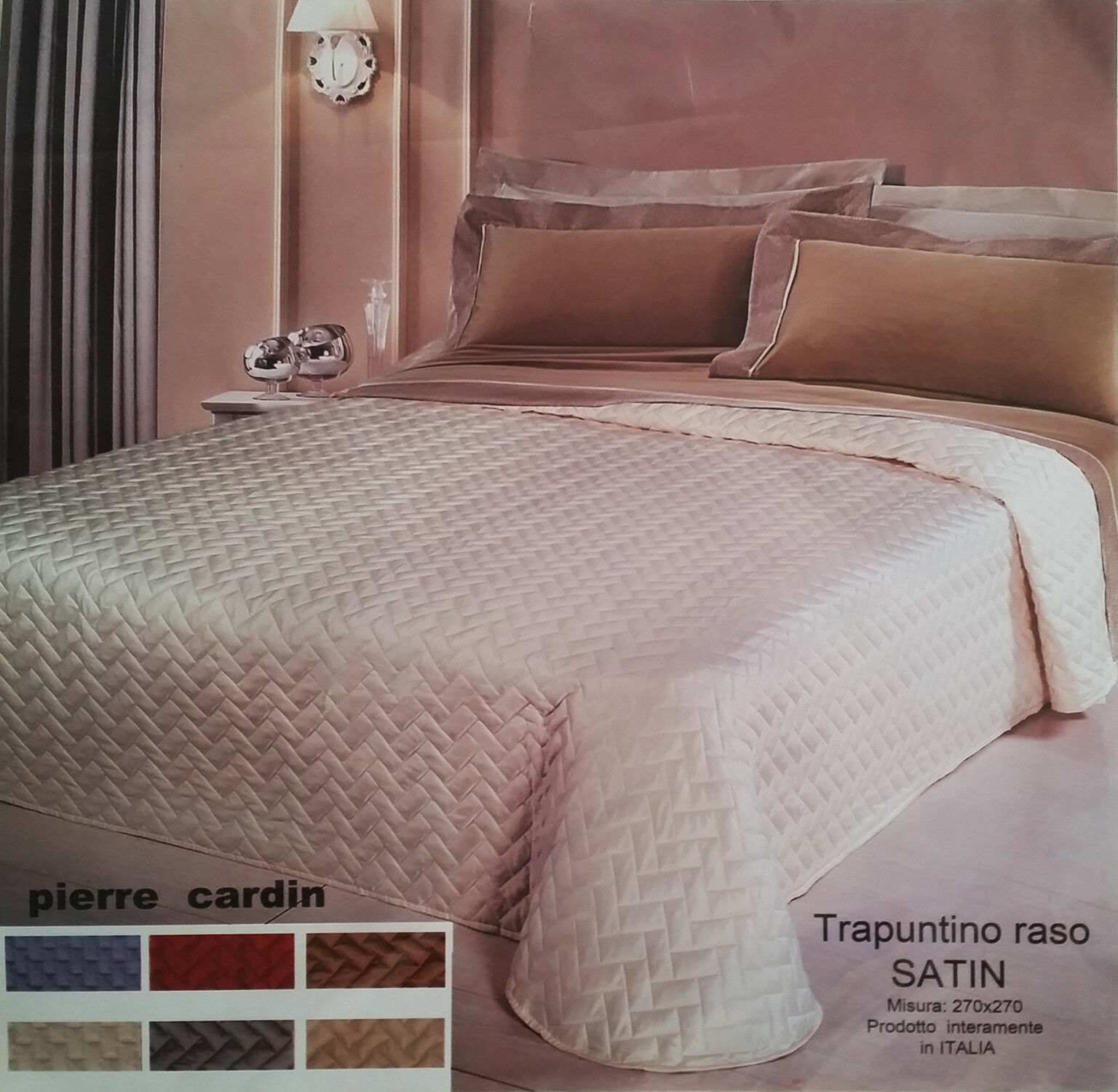TRAPUNTINO MATRIMONIALE PIERRE CARDIN MOD. SATIN 270x270 MADE IN ITALY