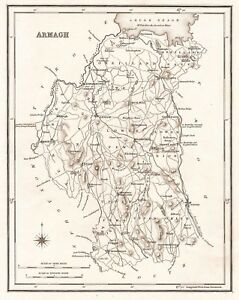 Map Of N Ireland.Details About Map Of County Armagh N Ireland C1845