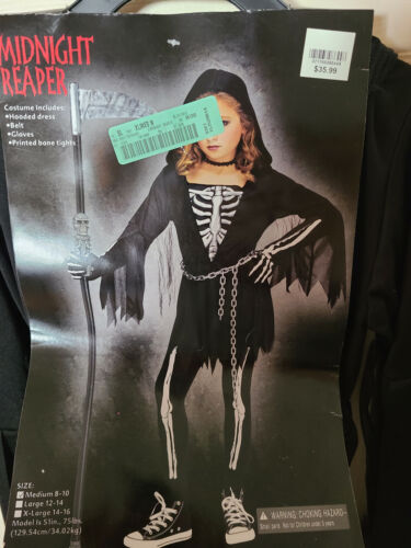 Details about  /Fun World Midnight Reaper Girls Large 12-14 Costume Dress Up New Incomplete