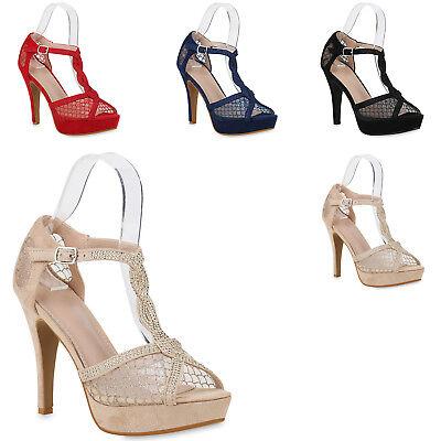 Damen Plateau Sandaletten Stiletto High Heels Strass Glitzer Schuh 820444 Trendy