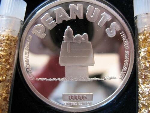 1-OZ.999 SILVER PEANUTS GANG ENGRAVABLE DOG HOUSE SLEEPING SNOOPY  COIN+GOLD