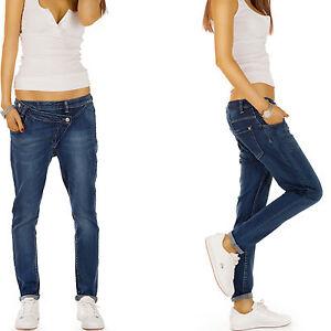 d86e04e09ddda8 Das Bild wird geladen Damen-Jeans -Hose-Boyfriend-Hueftjeans-Baggy-Fit-Knopfleiste-