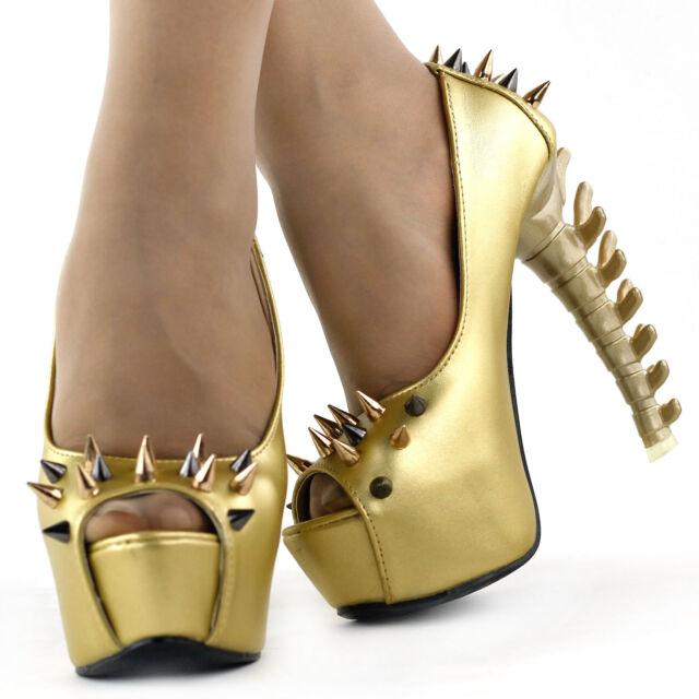 Punk Black/Gold Spike Peeptoe Platform Bone Heels Pumps UK Size 2.5/3/4/5/6/7/8