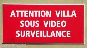 plaque gravée ATTENTION VILLA SOUS VIDEO SURVEILLANCE petit format