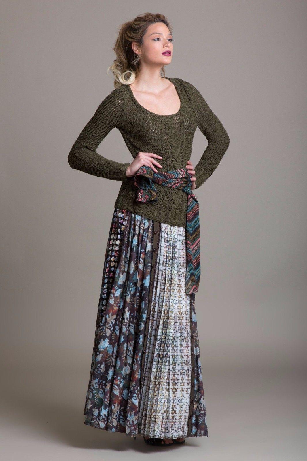BYRON LARS Size 6 3D Laser Cut Pleated Maxi Skirt Brown bluee Leaf Print NWT  695