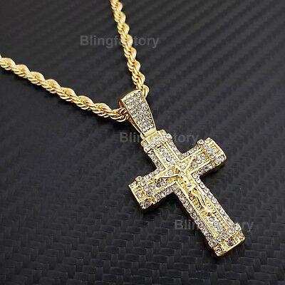 buy good release info on Hip Hop Iced Jesus Body Cross Pendant & 4mm 24