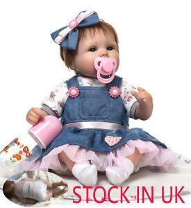 LIFELIKE NEWBORN DOLLS HANDMADE SILICONE VINYL REBORN BABY GIRL DOLL KIDS GIFT