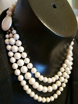 Costume Jewelry Vintage Boxed Faux Pearl Double Strand Choker Necklace and Bracelet Set Original Gift Box Made in Japan