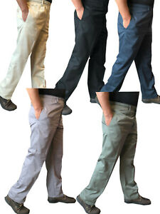 Mens-Elasticated-lightweight-Chinos-Cotton-Rugby-Trousers-Casual-Work-Pants