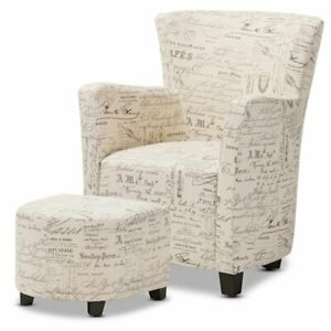 Admirable Details About Baxton Studio Benson Accent Chair And Ottoman Set In Off White Machost Co Dining Chair Design Ideas Machostcouk
