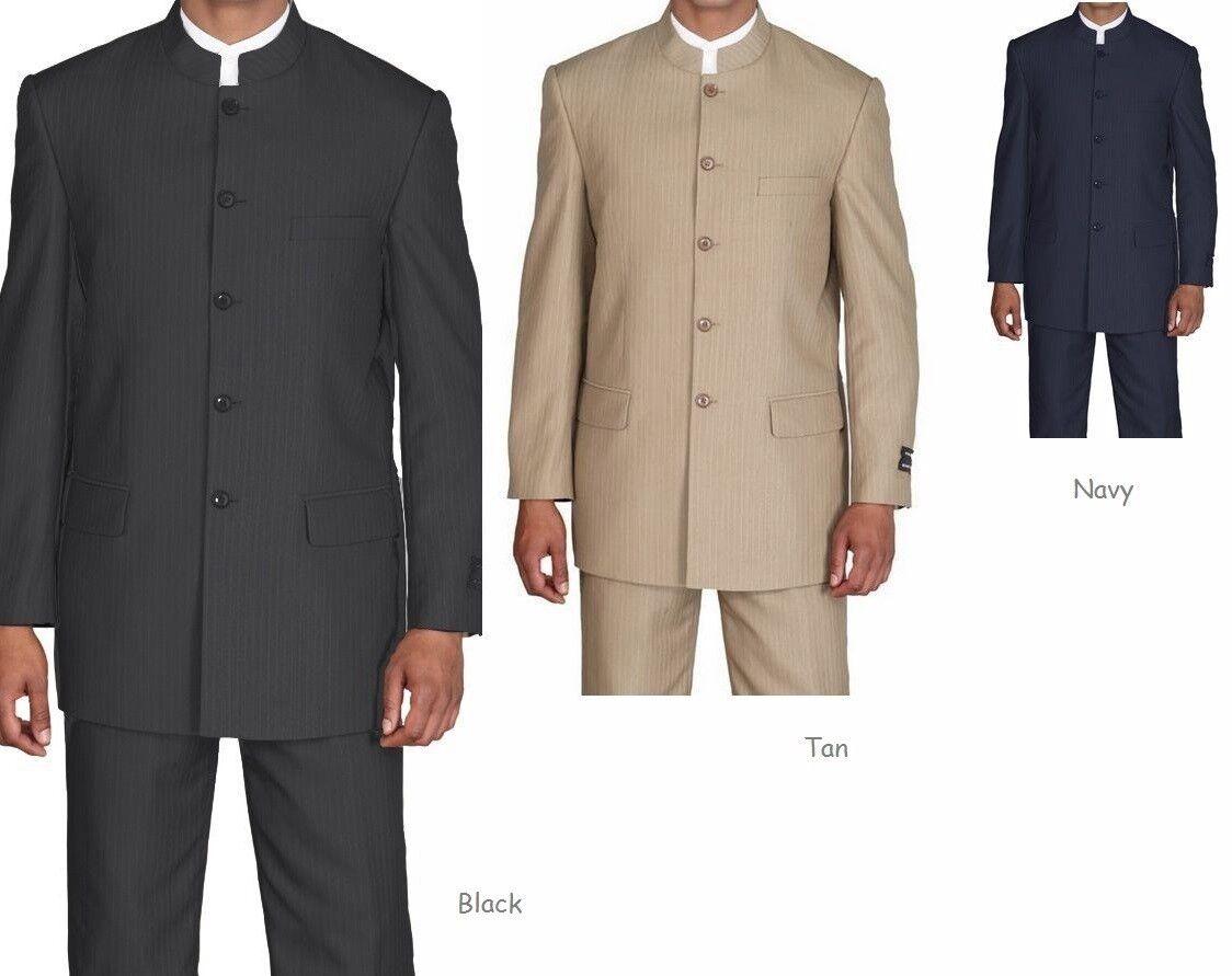 Men's Striped Church Suit Five Button Mandarin Collar CS925H