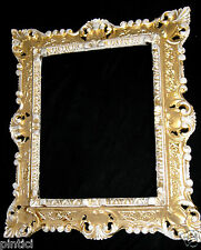 Bilderrahmen Barock Gold/Weiß Repro 45x37 Foto/Spiegelrahmen Gemälderahmen