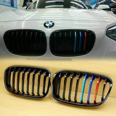 M-Color Metal Type M Look Gloss Black Front Grille For BMW 1er F20 F21 2011-14