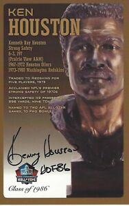 Ken Houston Washington Redskins  Football Hall Of Fame Autographed Bust Card